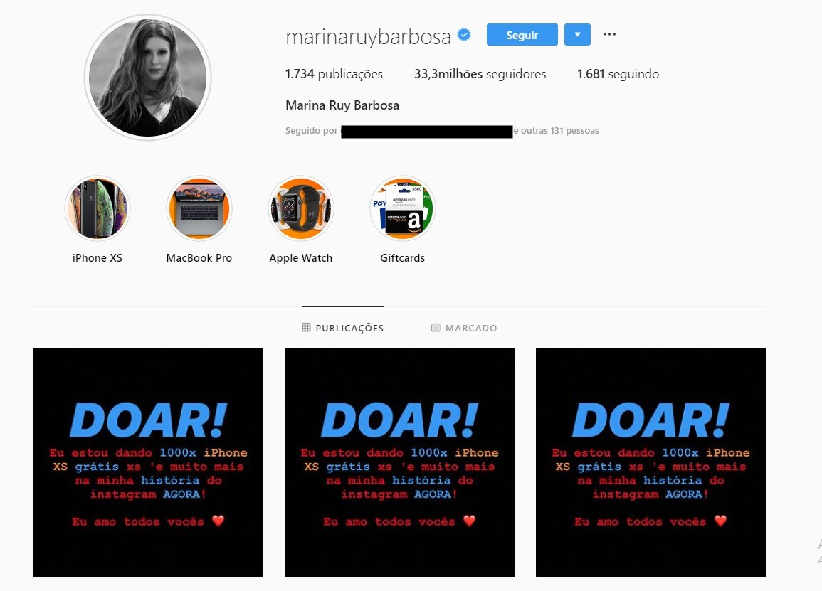 'MEDO': Hackers invadem Instagram de famosa e doam Iphones e Macbooks