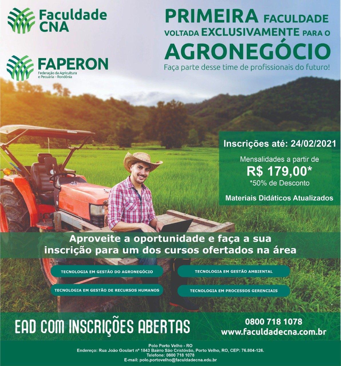 AGRICULTURA: Faperon e CNA promovem cursos voltados para o agronegócio em RO