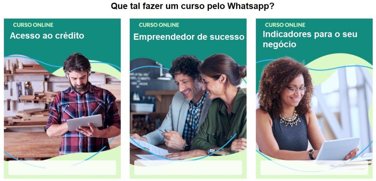 FORMAÇÃO: Sebrae lança 15 opções de cursos online gratuitos pelo WhatsApp
